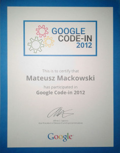 GCI 2012 - certyfikat