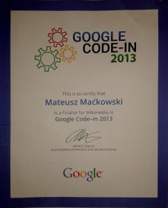 GCI2013 - certificate
